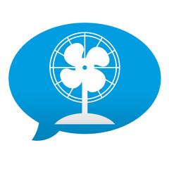 Etiqueta tipo app azul comentario simbolo ventilador de mesa