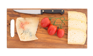 After dinner cheese board including blue. Rustic board.
