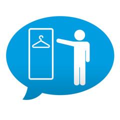 Etiqueta tipo app azul comentario simbolo vestuario masculino