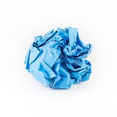crumpled blue paper isolet