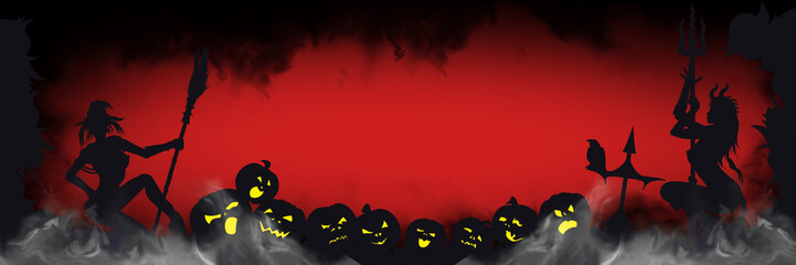 Halloween banner with sinister silhouettes