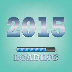 2015 Text with loading symbol  on blue background