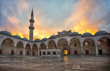 Suleymaniye mosque at sunset.Istanbul, Turkey.