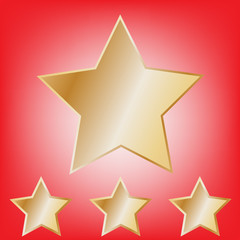 abstract gold star on red background