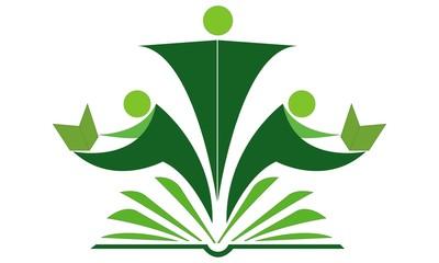 Book reader human logo