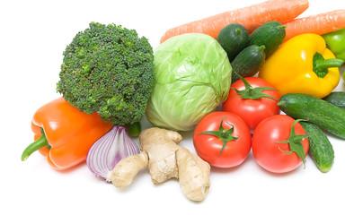 fresh vegetables closeup on white background