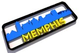 Memphis USA base colors of the flag of the city 3D design poster