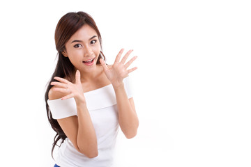 happy, surprised woman over white isolated background