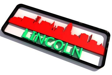 Lincoln USA base colors of the flag of the city 3D design