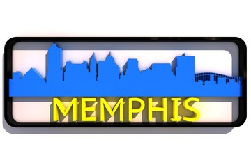 Memphis USA base colors of the flag of the city 3D design