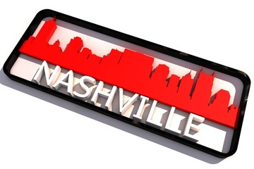 Nashville USA base colors of the flag of the city 3D design