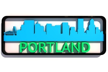 Portland USA base colors of the flag of the city 3D design