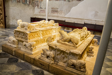 Bishop tomb in toledo cathedral, spain