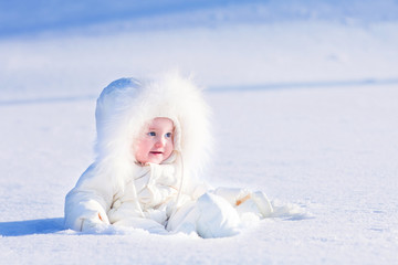 Beautiful baby in snow