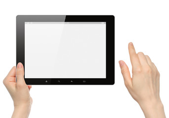 Woman hands hold and touch tablet PC on white background .