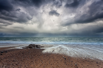 stormy sky over Atlantic ocean coast