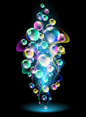 Smoke and versicoloured bubbles
