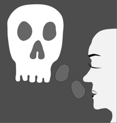 Feeling concept depression - face profile with scull