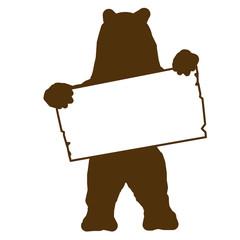 sp2 - SignPost - bear with blank signpost in brown - g1711