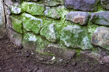 Green Moss Covering Curved Stone Retaining Wall