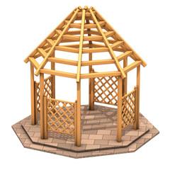Gazebo ottogonale in legno