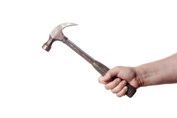 Holding a hammer