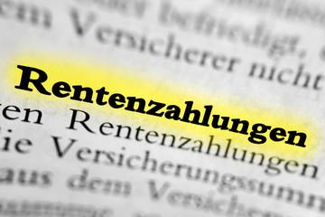 Rentenzahlungen - gelb markiert