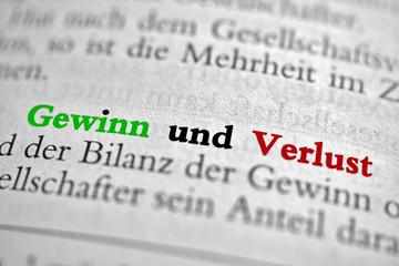 Gewinn und Verlust - G+V - Text grün-rot