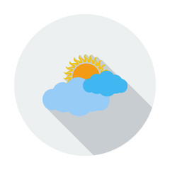 Weather icon. Sun and cloud.