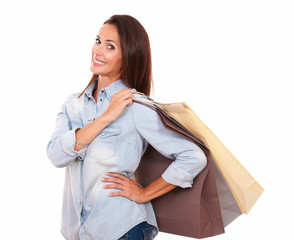 Shopaholic adult lady with her paper bags