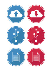 data and cloud icons in red and blue