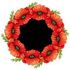 Poppies flower frame