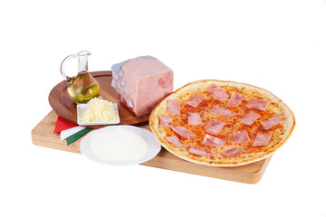 Italian pizza with ham, cheese