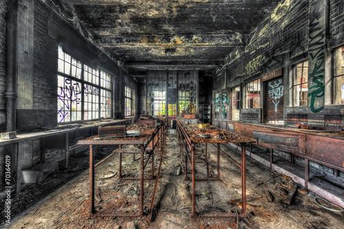 Staande foto Industrial geb. Dilapidated workshop in an abandoned coal mine