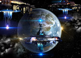 Fototapety Alien spaceship fleet nearing Earth