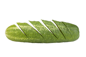 chopped ​​cucumber isolated on white background