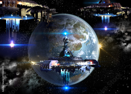 Alien spaceship fleet nearing Earth © 3000ad