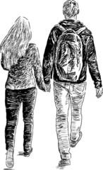 young pair walking