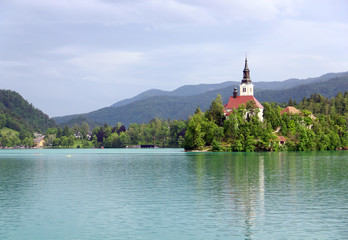 Assumption of Mary Pilgrimage Church and Bled lake, Slovenia