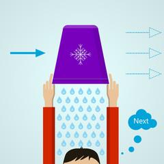 Ice Bucket Challenge. Colored flat illustration.