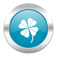 four-leaf clover internet blue icon