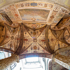 Ornate ceiling of the gallery in the Palazzo Vecchio