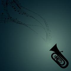 Tuba with Musical Symbols
