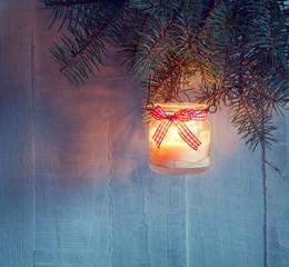 Christmas    lantern at the  evening . Toned image.