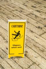 Sign Warning against Slippery Floor