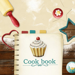 painted baking background: dough, rolling pin, cookie cutters an