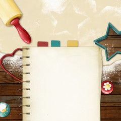 painted baking background: dough, rolling pin, cookie cutters