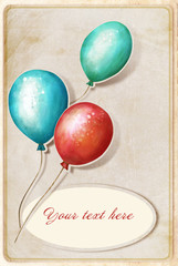 background with colorful balloons and place for text