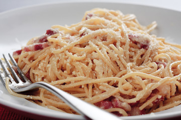 Spaghetti carbonara close-up