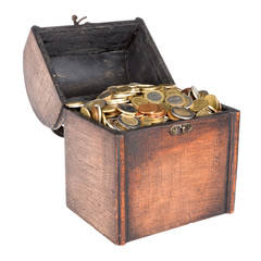 Wooden money chest filled with coins isolated over white